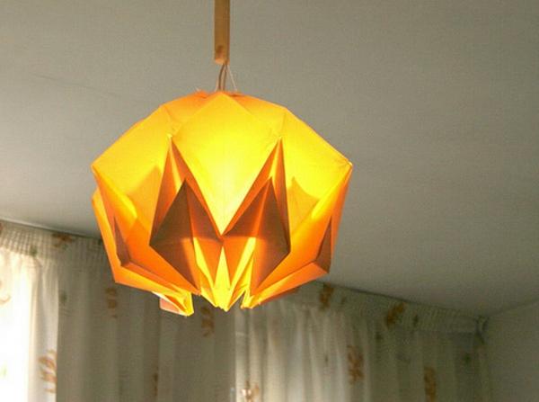 lampe-origami-suspendue-jaune-brillante