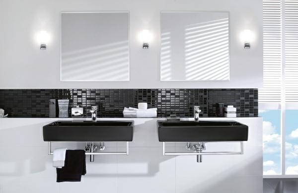 Le salle de bain design en blanc et noir for Salle de bain carrelage noir
