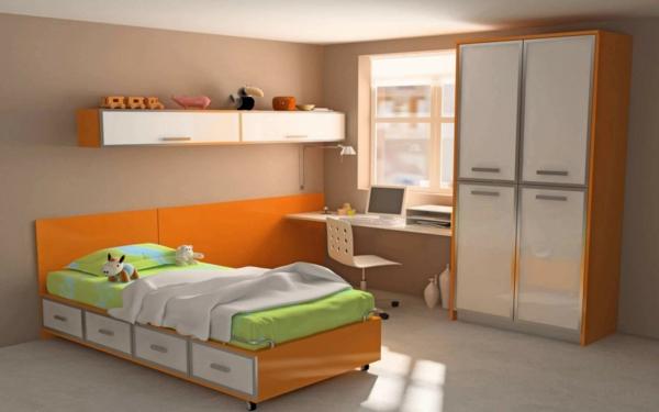 lit-d'enfant-avec-tiroirs-design-minimaliste-beige-et-orange