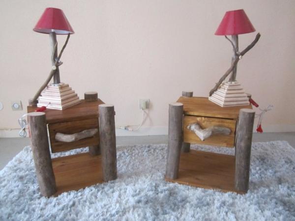 Une table de chevet en bois choisir ou faire vous m me for Lampe de chevet en bois flotte
