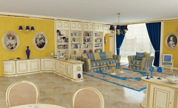 meuble-vintage-hall-jaune-et-bleu