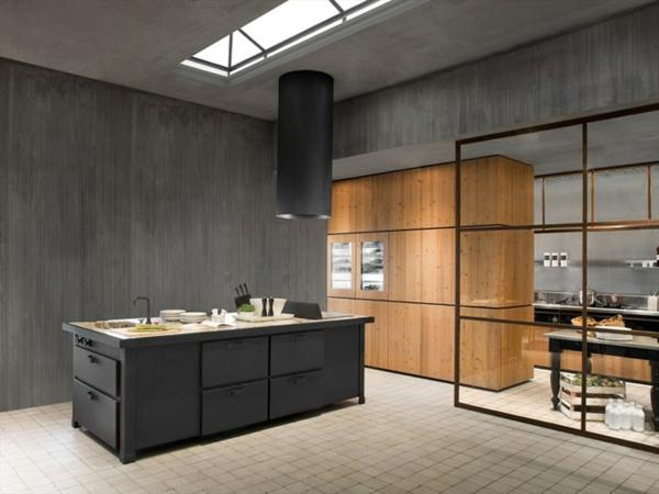 cuisine en bois et noir avec des touches de couleurs contrastes en blanc - Cuisine Noir Et Blanc Et Bois