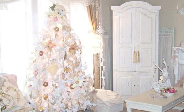 Sapin De Noel Decoration Blanc Bleu Et Dor Ef Bf Bd