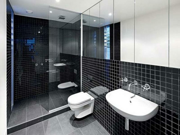 Le salle de bain design en blanc et noir for Bathroom ideas kerala