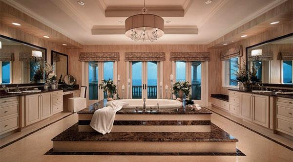plafonnier-salle-de-bains-design-moderne-ameublement en couleur peach