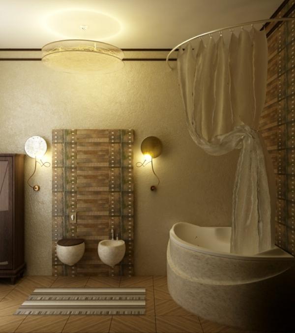 plafonnier-salle-de-bains-petites-lampes-montées-au-mur avec des éléments fins
