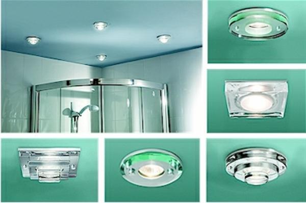 plafonnier-salle-de-bains-une-couleur-turquoise-lampes rondes et réctangulaires