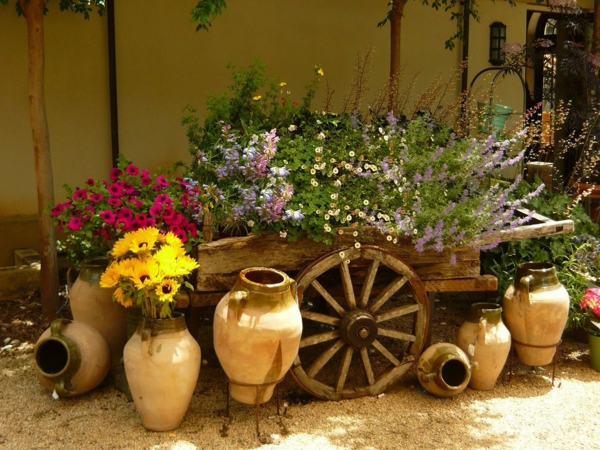 pottery-and-wooden-cart-garden-decorations-resized