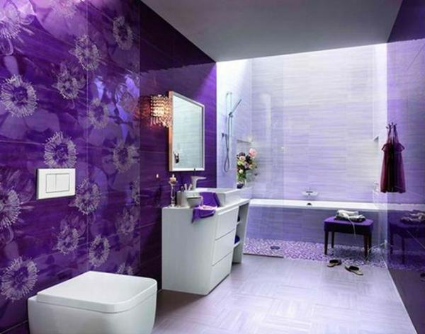 Mod le salle de bain moderne quelques id es fascinantes for Carrelage salle de bain violet
