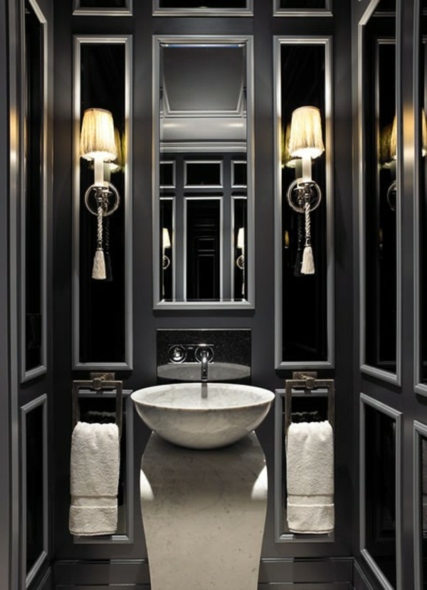 le salle de bain design en blanc et noir. Black Bedroom Furniture Sets. Home Design Ideas