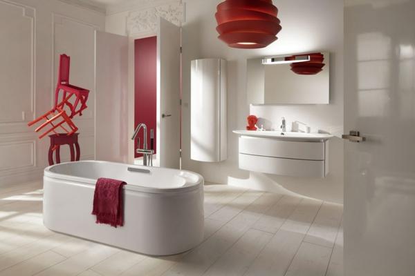 Mod le salle de bain moderne quelques id es fascinantes et promettantes - Salle de bain rouge et blanche ...