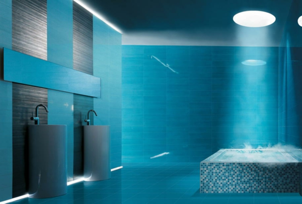 Mod le salle de bain moderne quelques id es fascinantes for Salle de bain mur bleu