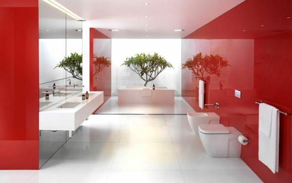 Mod le salle de bain moderne quelques id es fascinantes for Bureau rouge et blanc