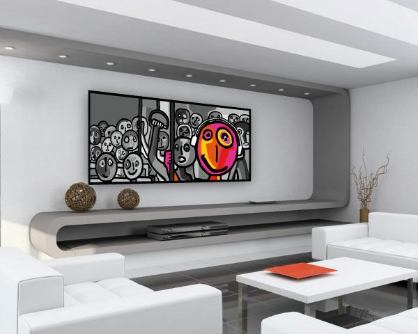 17 id e pour une grand tableau design mural du salon for Grand salon design