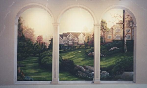 une trompe-l'oeil-fenêtre-un-chateau-et-son-jardin
