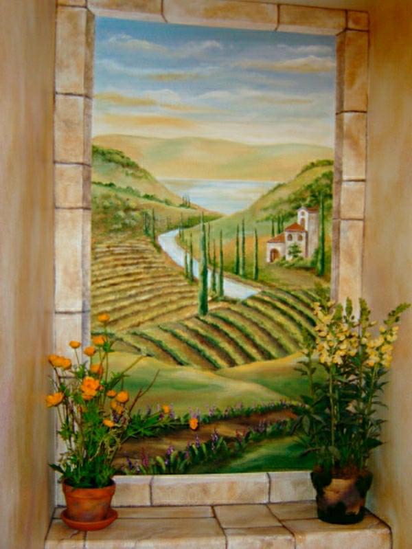 trompe-l'oeil-fenêtre-paysage rustique et des pots de fleurs au bord