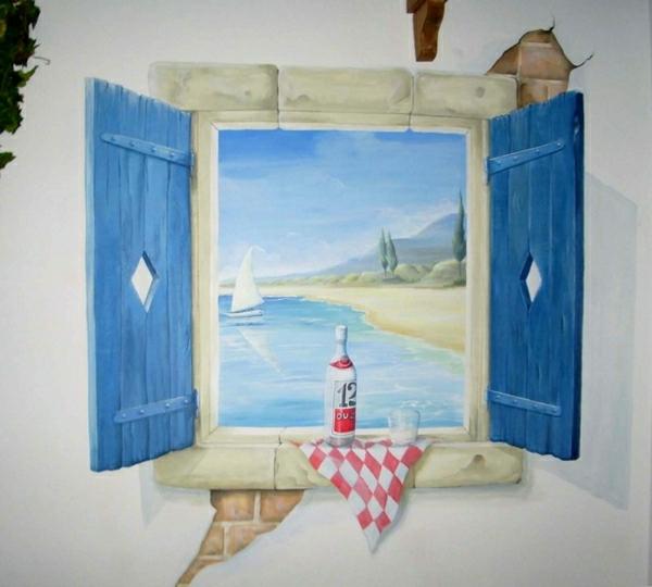 trompe-l'oeil-fenêtre-près-de-la-mer, ventails bleus