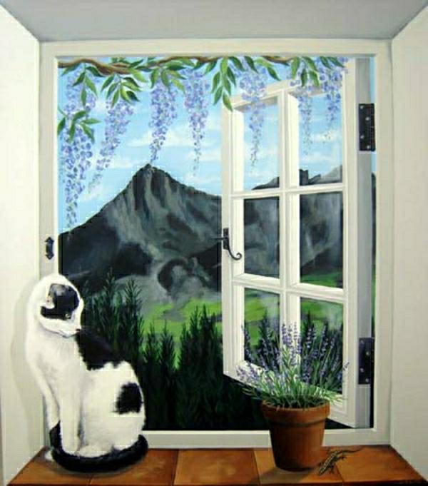 trompe-l'oeil-fenêtre-un-chat-mignon noir et blanc