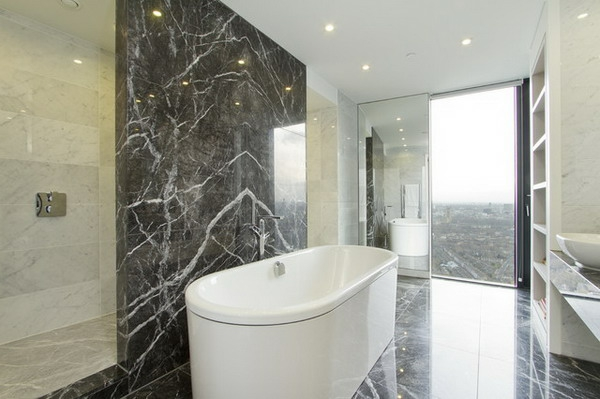 Le marbre et le design contemporain for Salle bain marbre