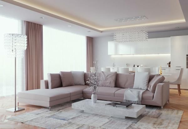 ... mobilier rose, la lumination en crystal et une table basse en marbre
