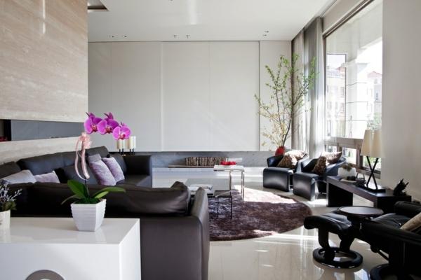 Le-marbre-et-le-design-contemporain-une-salle-de-séjour-fascinante