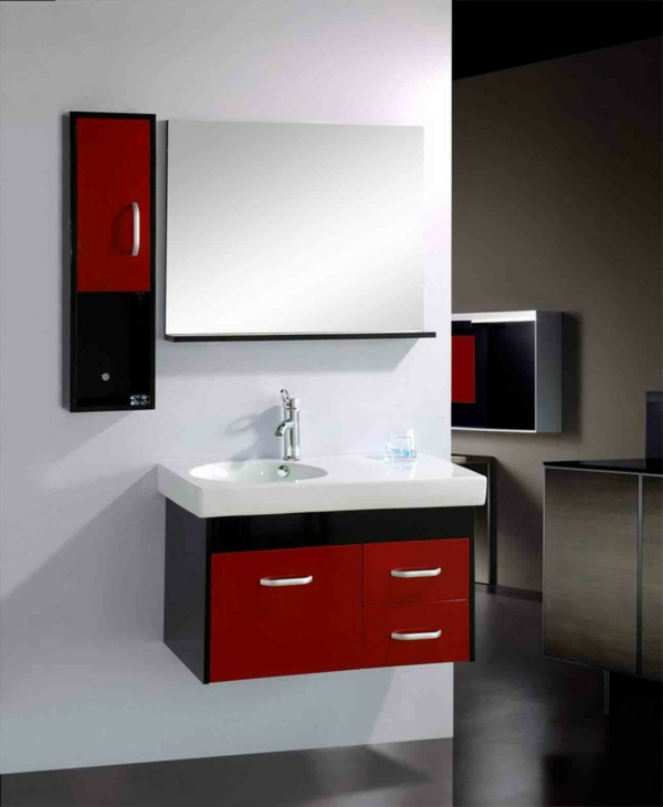 Une armoire de salle de bain avec miroir pour le style de votre salle de toil - Salle de bain rouge et noir ...