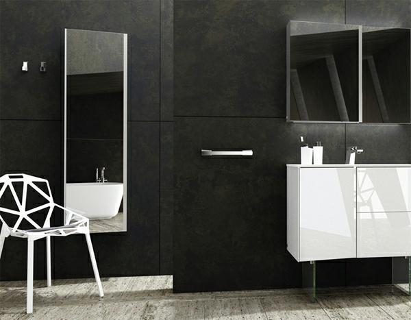 Une armoire de salle de bain avec miroir pour le style de for Miroir salle de bain noir