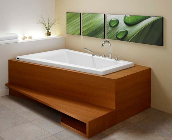 baignoire-encastrable-recouvrée-de-bois