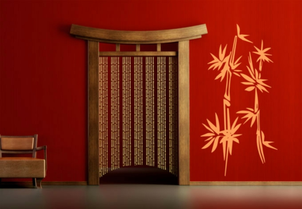 chambre-style-chinois-en rouge-et-bambou