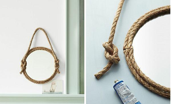 Mod les de miroirs ronds pour la salle de bain - Miroir rond avec corde ...