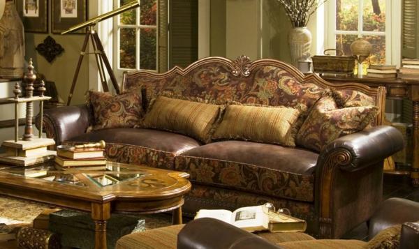 canape-cuir-vintage-marron--finitions-revetement-cuir-et-tissu-jackarde-table-basse