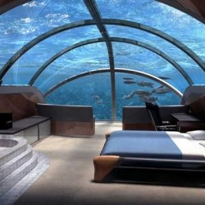 Le design d'une chambre d'hôtel de luxe sous-marine - incroyable et fascinant!