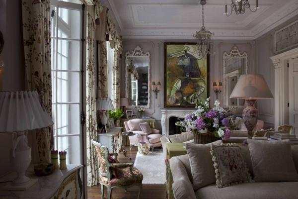 chambre-de-style -anglais-en-gris-et-rose
