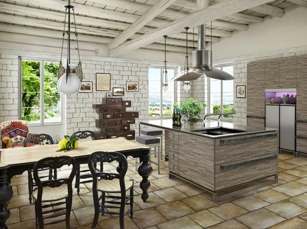 cuisines-rustiques-chaises-noirs