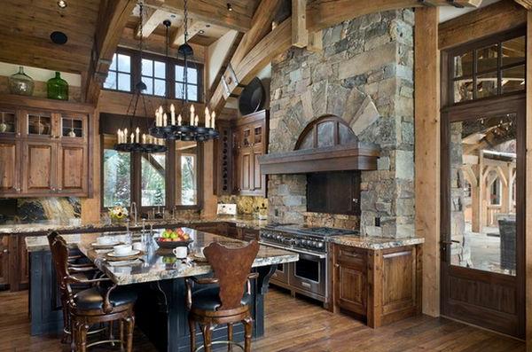 Les plus belles cuisines rustiques en images for Cuisine bois et pierre