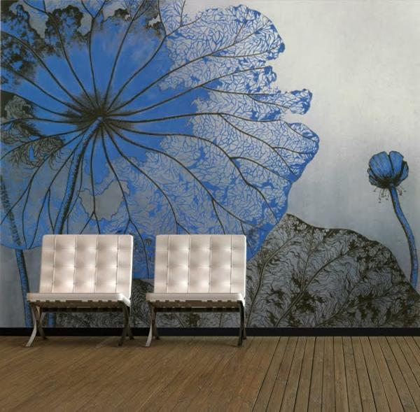 décoration-murale-originale-en-bleu-et-gris