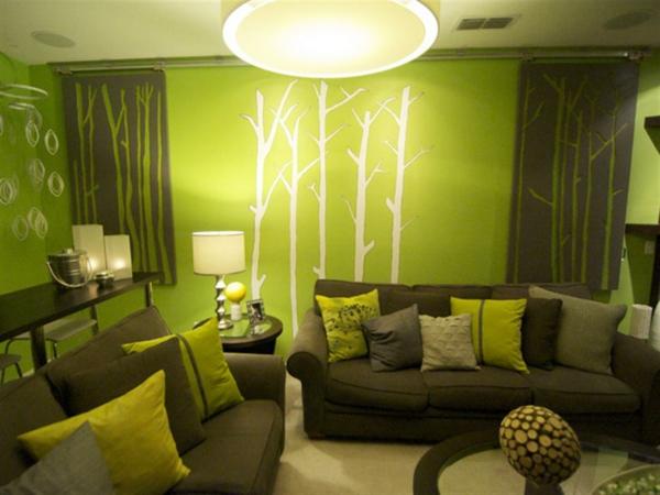 décoration-murale-originale-dans-une-salle-verte