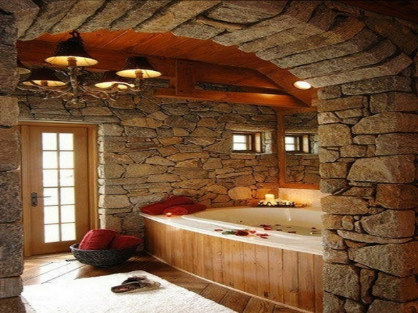 Le dallage en pierre naturelle for Salle de bain bois naturel