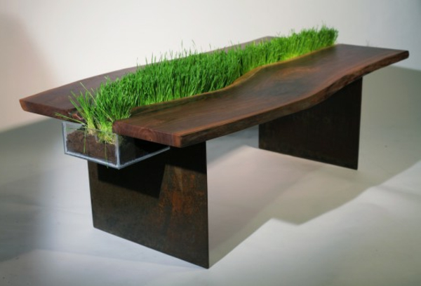 decoration-en-bois-table-herbe-nature