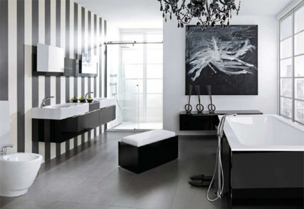 La d coration noir et blanc vous surprenda avec style et chic - Salle de bain en noir et blanc ...
