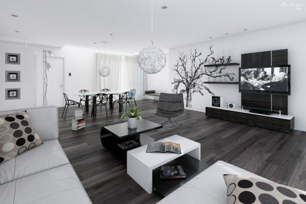 decoration salon moderne gris et blanc. Black Bedroom Furniture Sets. Home Design Ideas