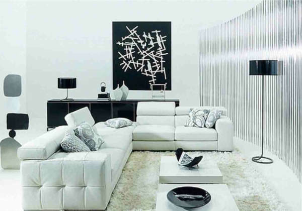 decoration-noir-et-blanc-contemporain-table-basse-salon-deux-canapes