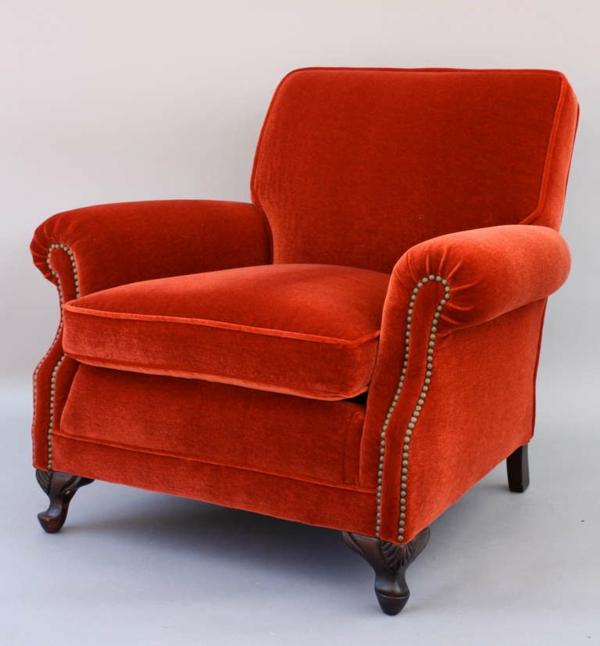 fauteuil-design-antique-rouge-annees-30-revetement-mohair