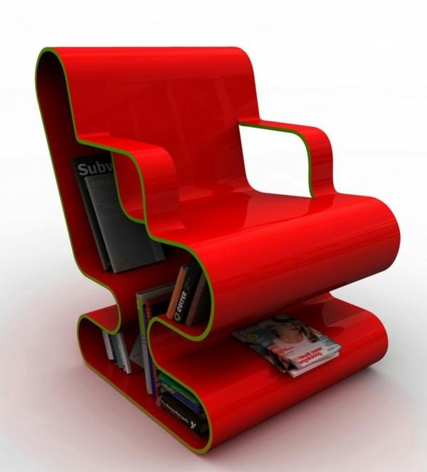 fauteuil-design-rouge-avec-place-rangement-livres-integree