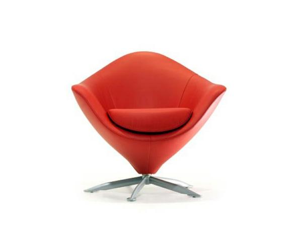 fauteuil-design-rouge-cone-pietement-en-acier