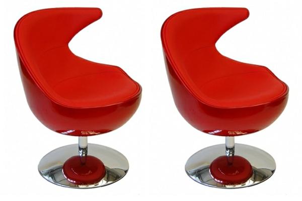 fauteuil-design-rouge-lounge-pivotant-pied-acier-chrome