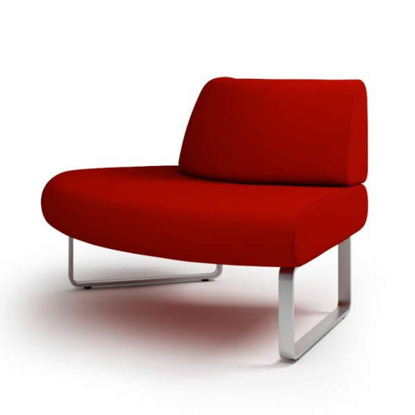 fauteuil-design-rouge-moderne-pietement-acier-chrome