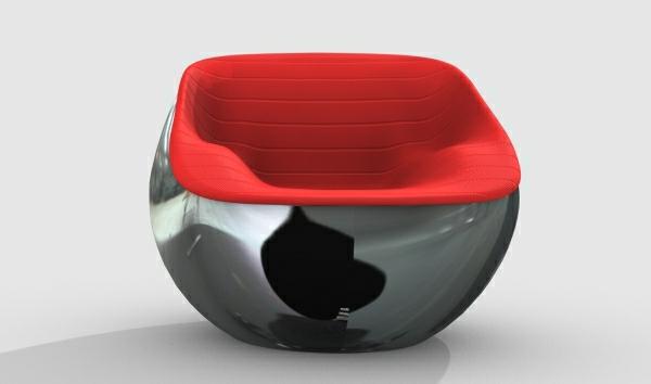 fauteuil-design-rouge-moderne-siege-integre-acier-chrome-mat