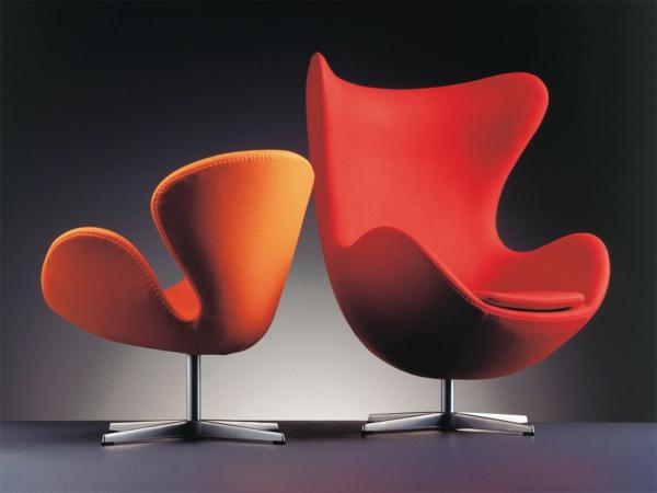 fauteuil-design-rouge-pivotant-revetemnt-tissu-pied-acier-crome
