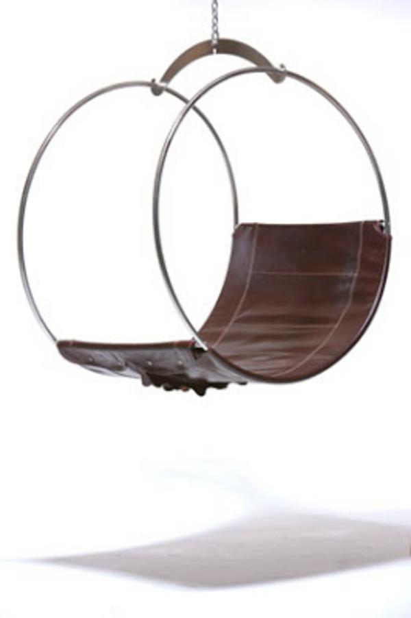 fauteuil oeuf suspendu design elle en cuir